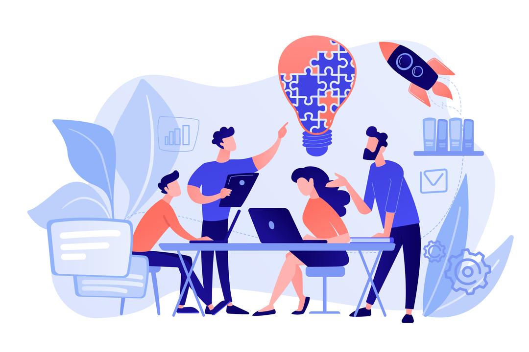 FieldLink: Ilustração de equipe tendo uma ideia enquanto conversam usando computadores