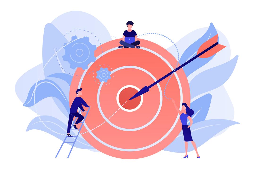 metas de visitação: ilustração de flecha em alvo com equipe em volta