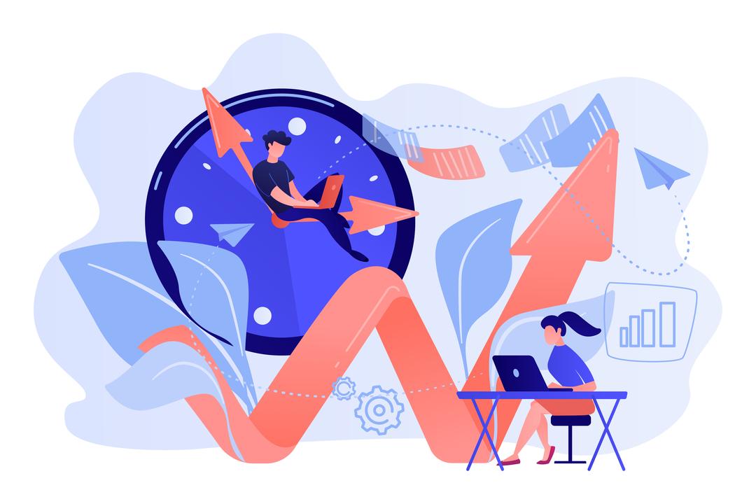 Como aumentar a produtividade: ilustração de equipe trabalhando perto de relógio